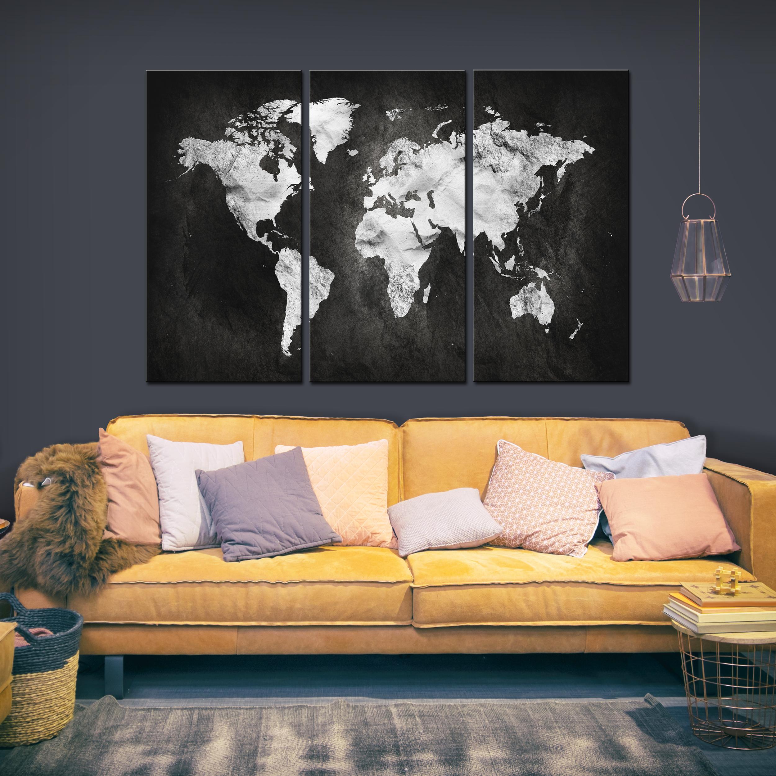 LEINWAND BILDER Weltkarte retro schwarz Kunstdruck WANDBILDER XXL Wohnzimmer