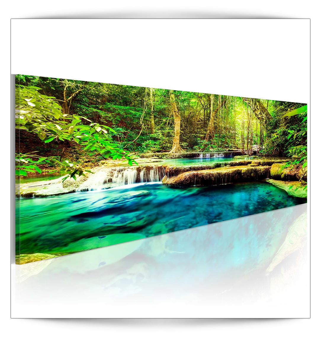 bilder wasserfall wald leinwand wandbilder bild kunstdruck gro e auswahl dkb0161 ebay. Black Bedroom Furniture Sets. Home Design Ideas
