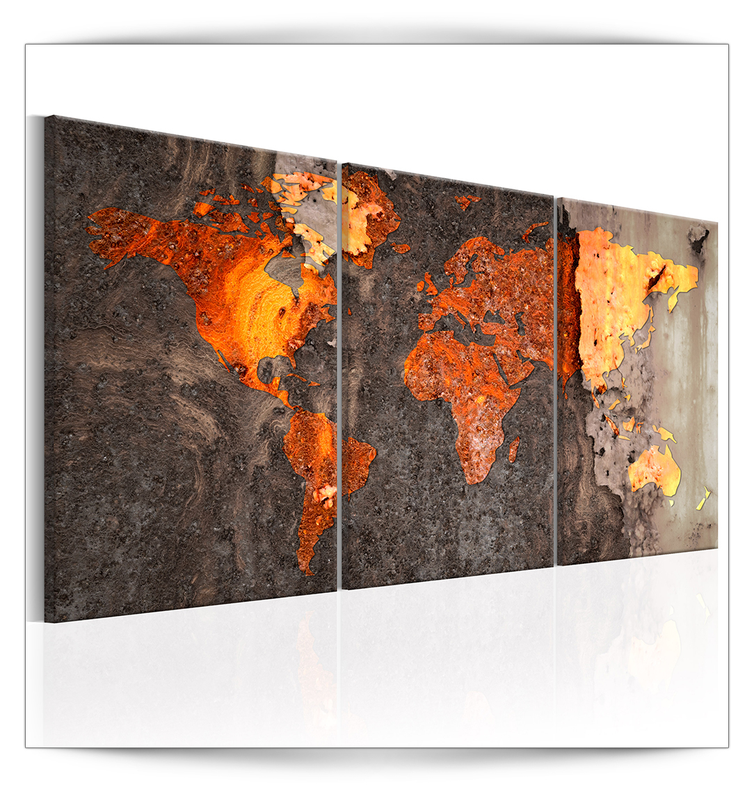 bilder leinwand bild weltkarte stahl kupfer rost abstrakt wandbilder kunstdruck ebay. Black Bedroom Furniture Sets. Home Design Ideas