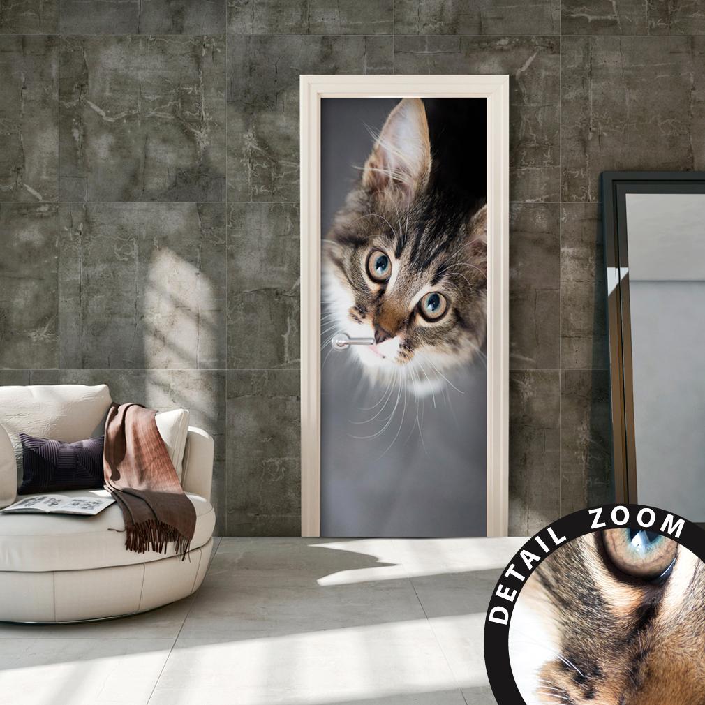 t rtapete selbstklebend t rfolie t rposter t raufkleber fototapete wald katze ebay. Black Bedroom Furniture Sets. Home Design Ideas