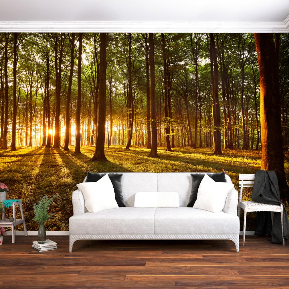 VLIES FOTOTAPETE Wald Sonne TAPETE TAPETEN Schlafzimmer WANDBILD XXL ...