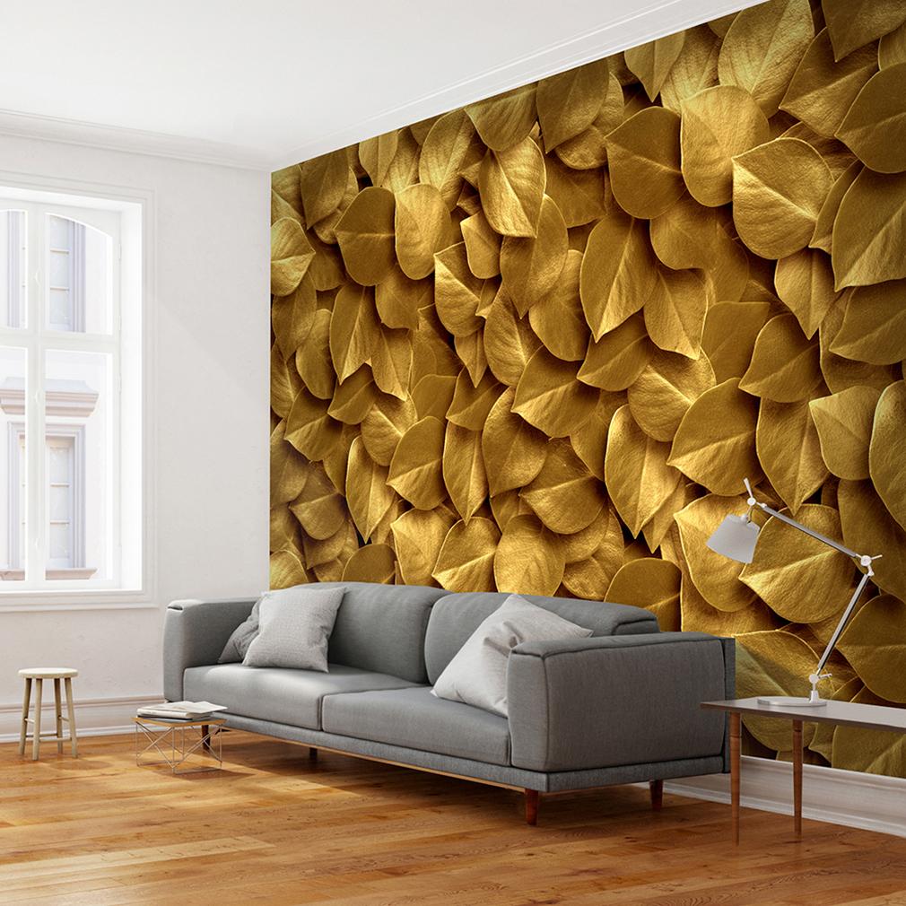 Wohnzimmer Farbe Gold: VLIES FOTOTAPETE Laub Natur Gold Silber TAPETE WANDBILDER
