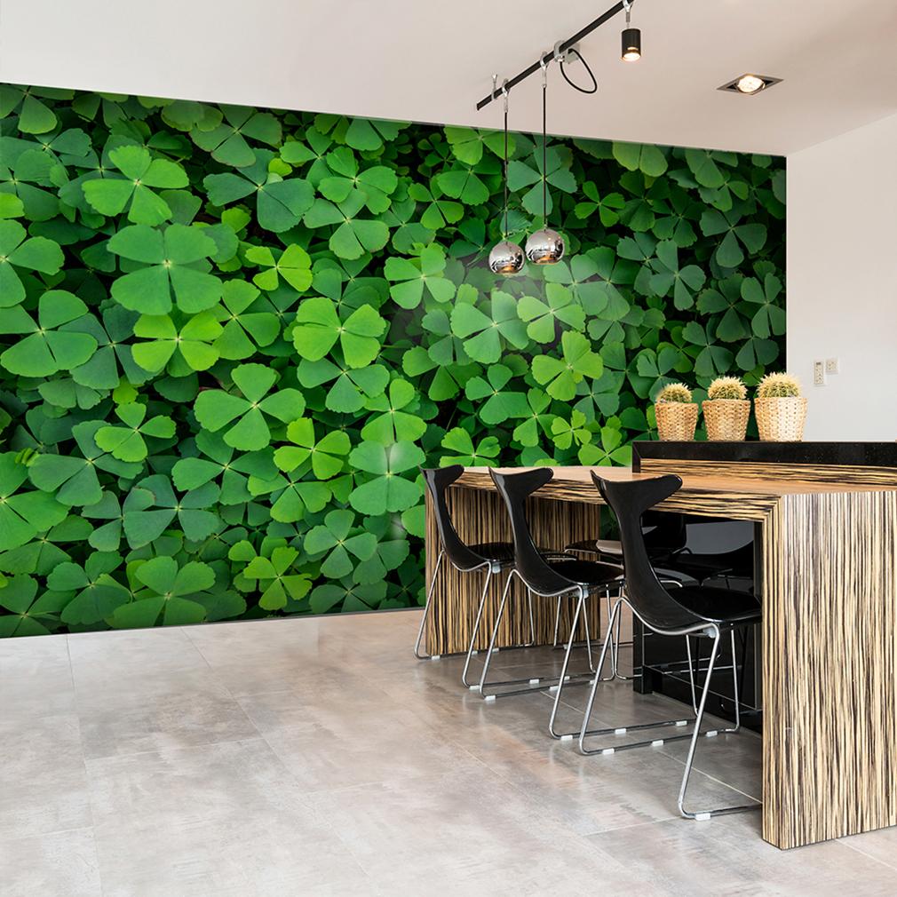 vlies fototapete blumen klee gr n natur tapete pflantzen. Black Bedroom Furniture Sets. Home Design Ideas