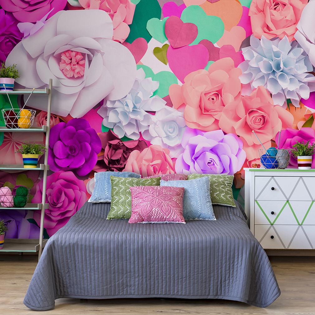vlies fototapete blumen rosa bunt tapete kinderzimmer wandbild fob0058 3 farben ebay. Black Bedroom Furniture Sets. Home Design Ideas