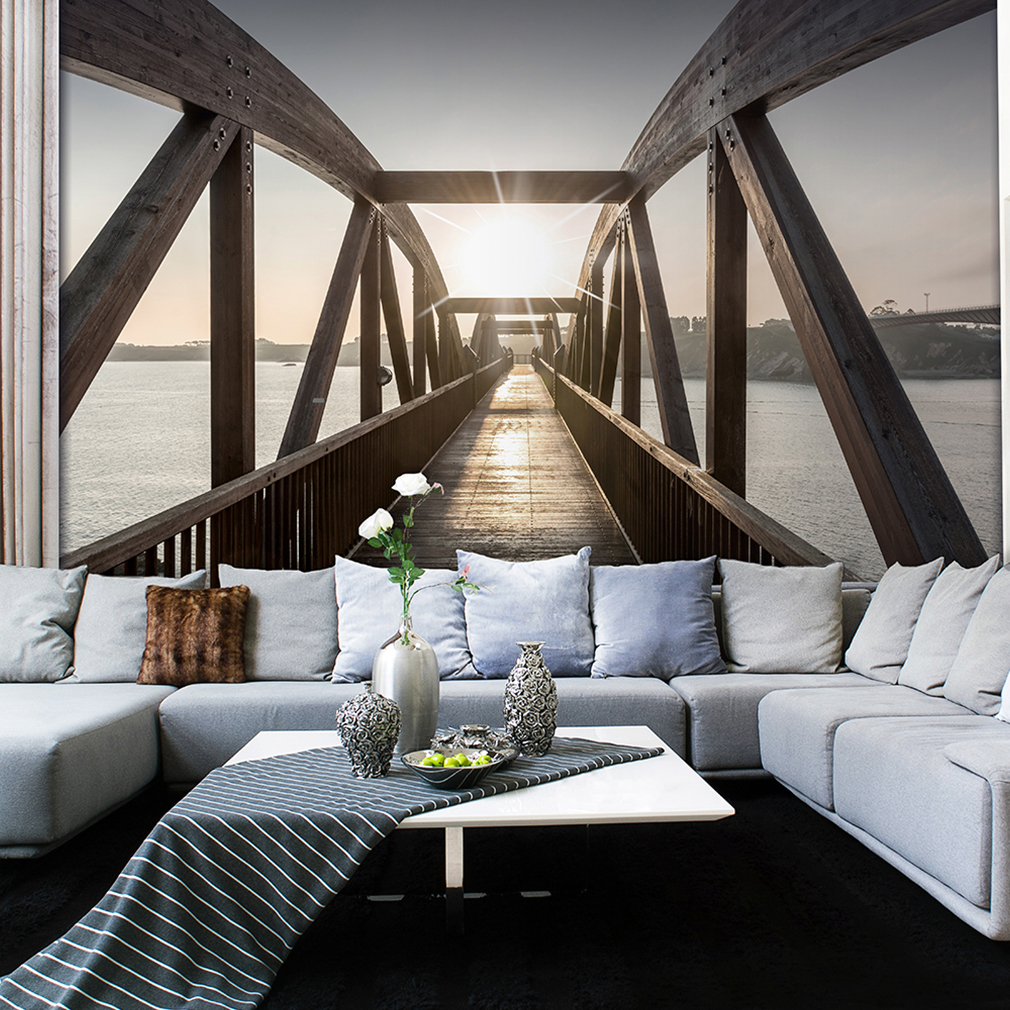 vlies fototapete 3d br cke holz tapete tapeten schlafzimmer wandbild xxl fob0080 ebay. Black Bedroom Furniture Sets. Home Design Ideas