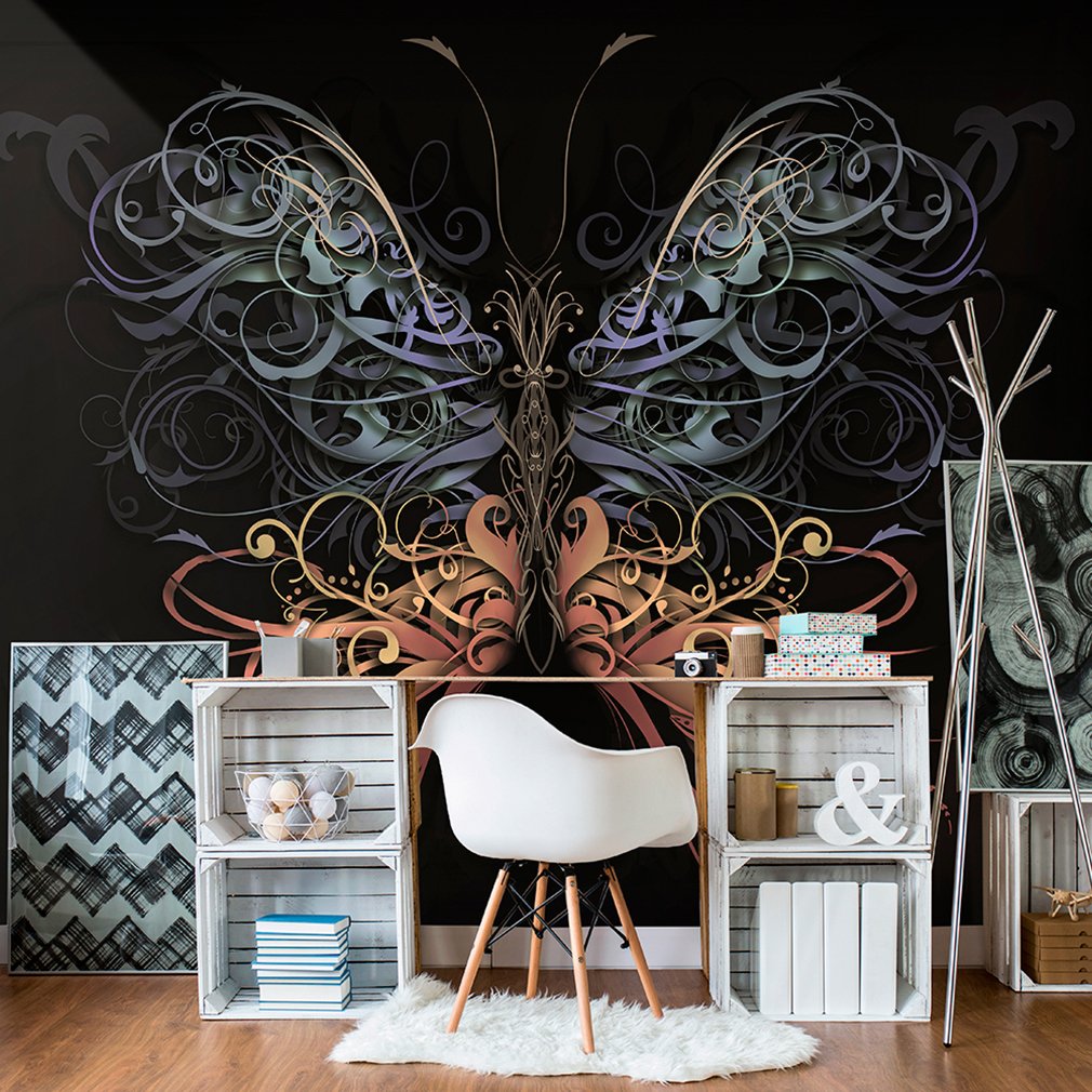 vlies fototapete schmetterling tapete tapeten schlafzimmer wandbild xxl fob0153 ebay. Black Bedroom Furniture Sets. Home Design Ideas