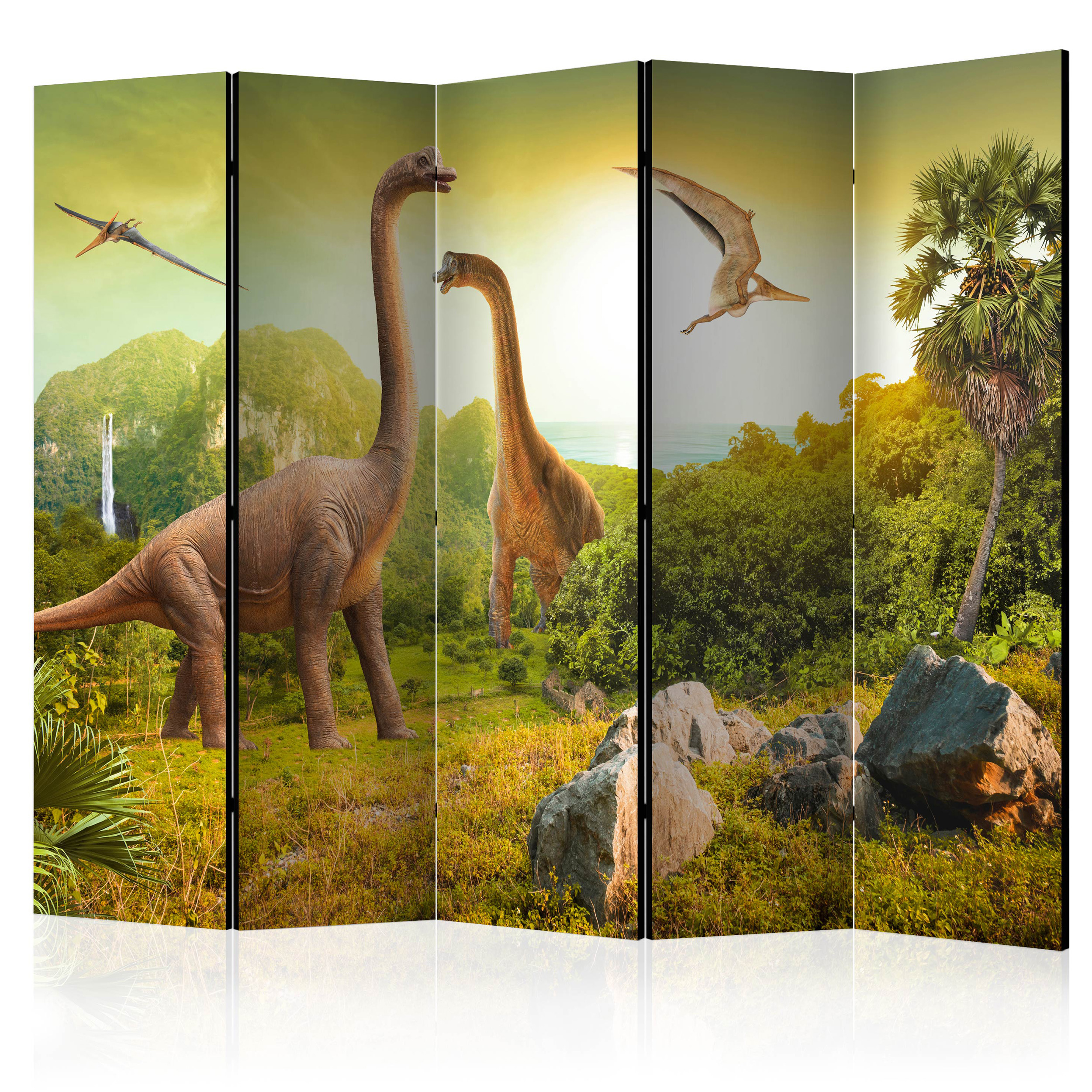 PARAVENT RAUMTEILER Spanische Wand TRENNWAND Dinosaur 2 Formate 4 Farbe