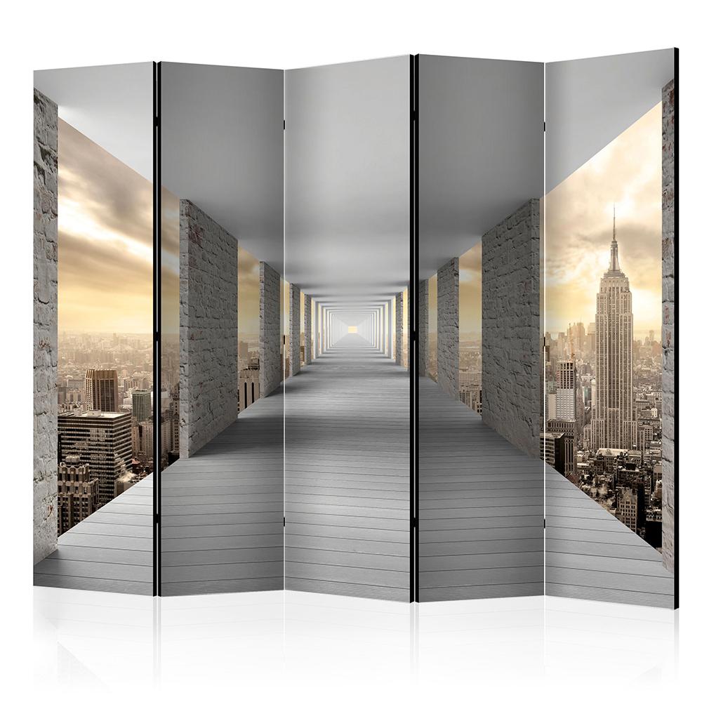 Deko paravent raumteiler trennwand foto tunnel 3d optik abstrakt wei grau 2x 5x ebay - Deko raumteiler ...