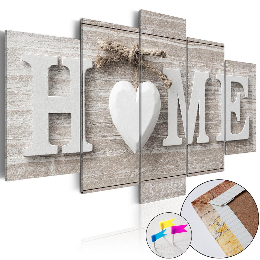 leinwandbilder bild home herz haus holz vintage retro boho pinnwand wie kork xxl ebay. Black Bedroom Furniture Sets. Home Design Ideas