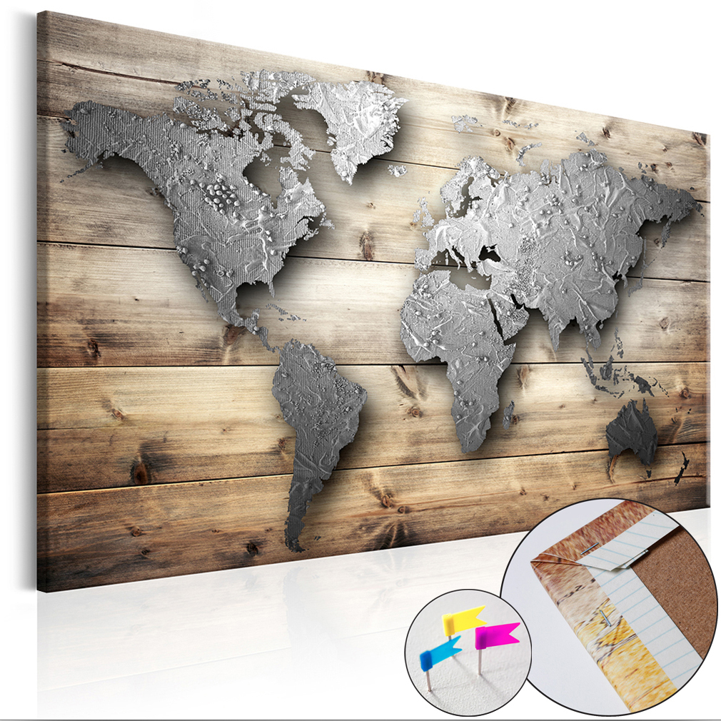 Weltkarte pinnwand holzfaserplatte wie kork wandbild holz for Pinnwand modern