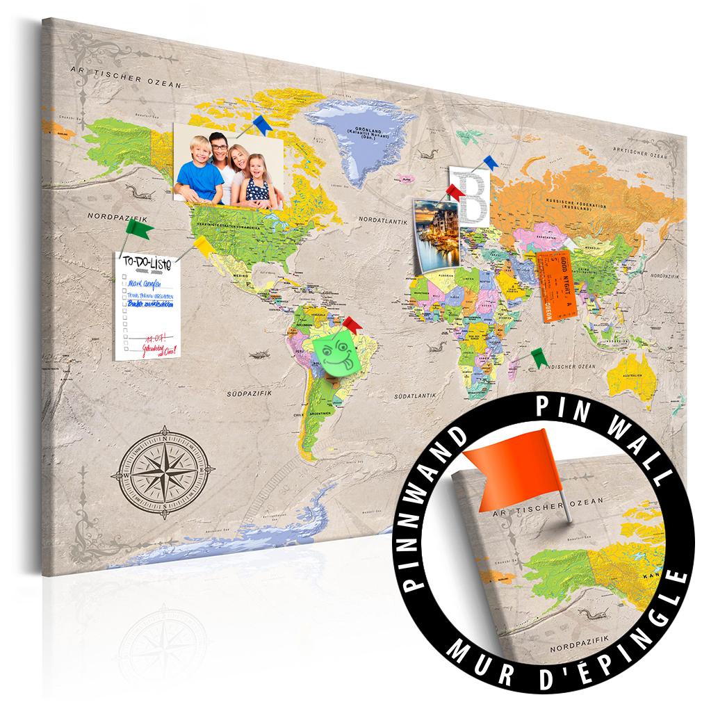 Nostalgie wandbild weltkarte deko wandobjekt for Weltkarte deko