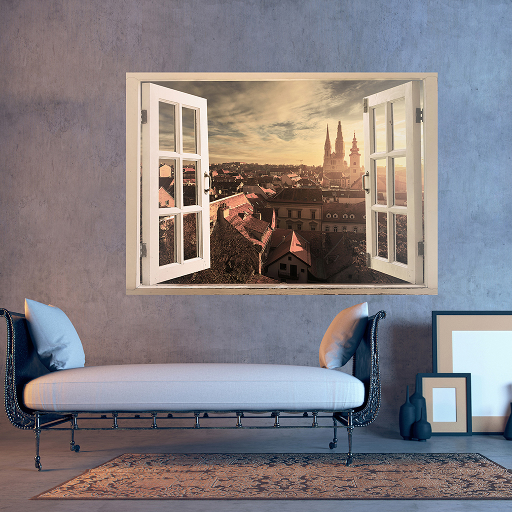 wandsticker 3d fensterblick wandbild wandillusion fototapete poster xxl toc0001 ebay. Black Bedroom Furniture Sets. Home Design Ideas