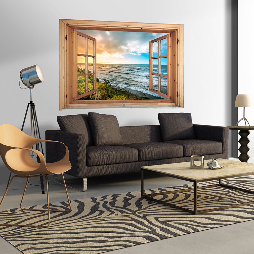 wandsticker 3d fensterblick wandbild wald wandillusion fototapete poster toc0020 ebay. Black Bedroom Furniture Sets. Home Design Ideas