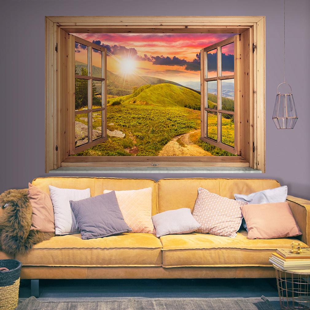 Optische Täuschung 3D Natur Wald Fensterblick Wandbild ...