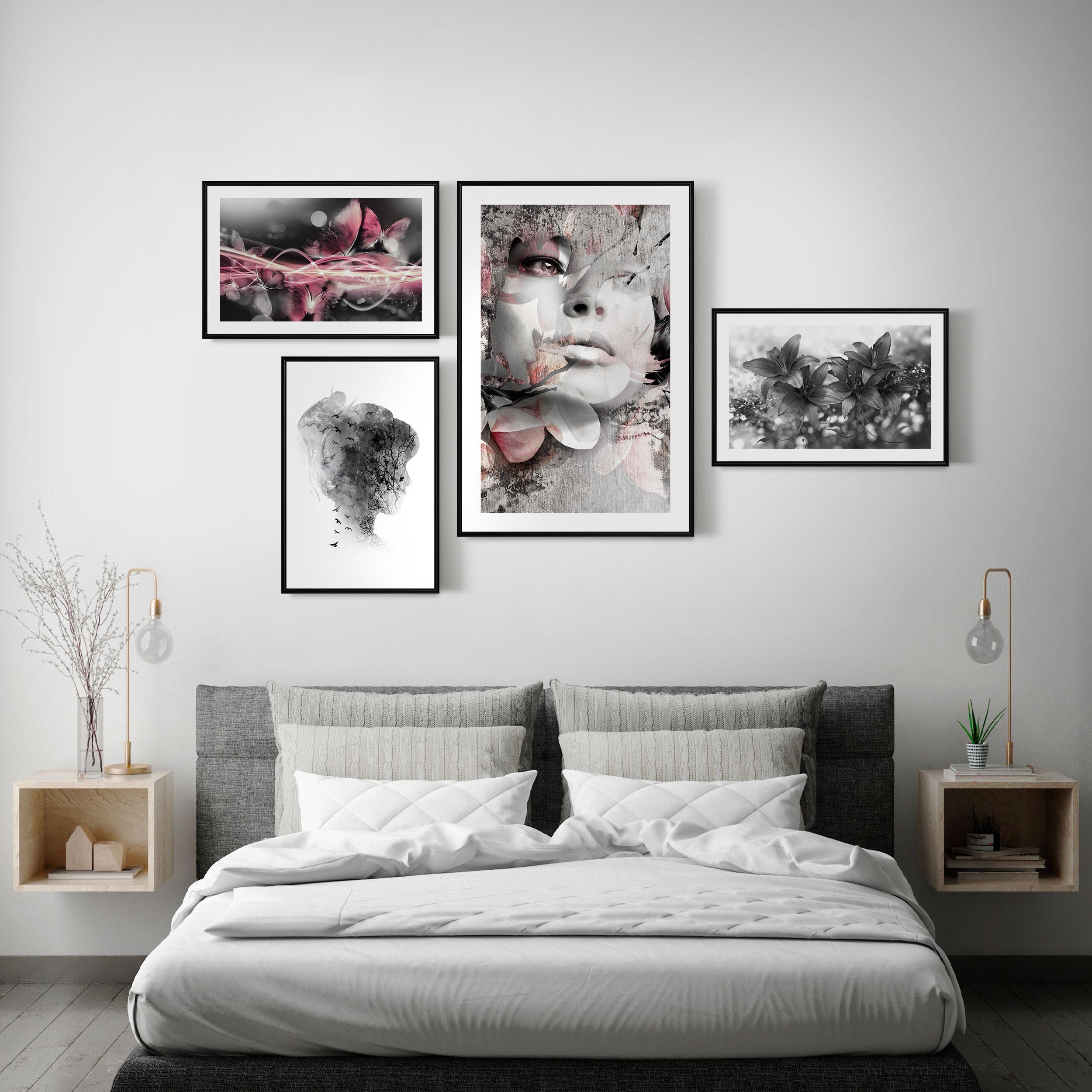 Bilder POSTER SET mit Rahmen BLUMEN Rose FRAUEN Wandbilder