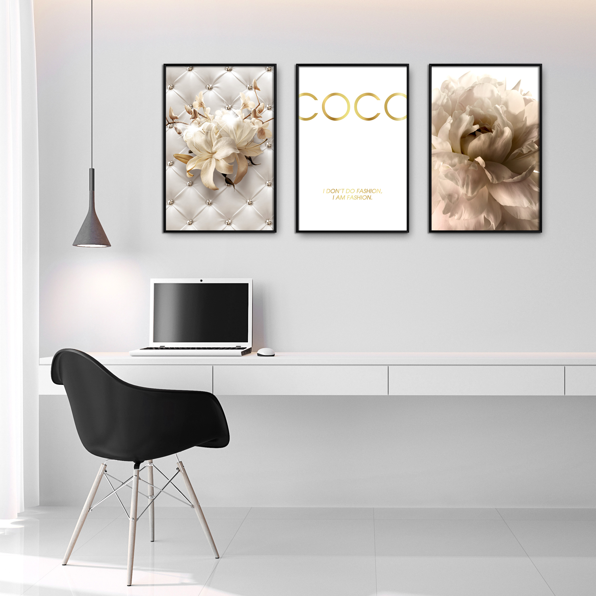 Poster 3er Set RAHMEN Coco Gold metallischen Effekten Wandbild Blumen Kunstdruck