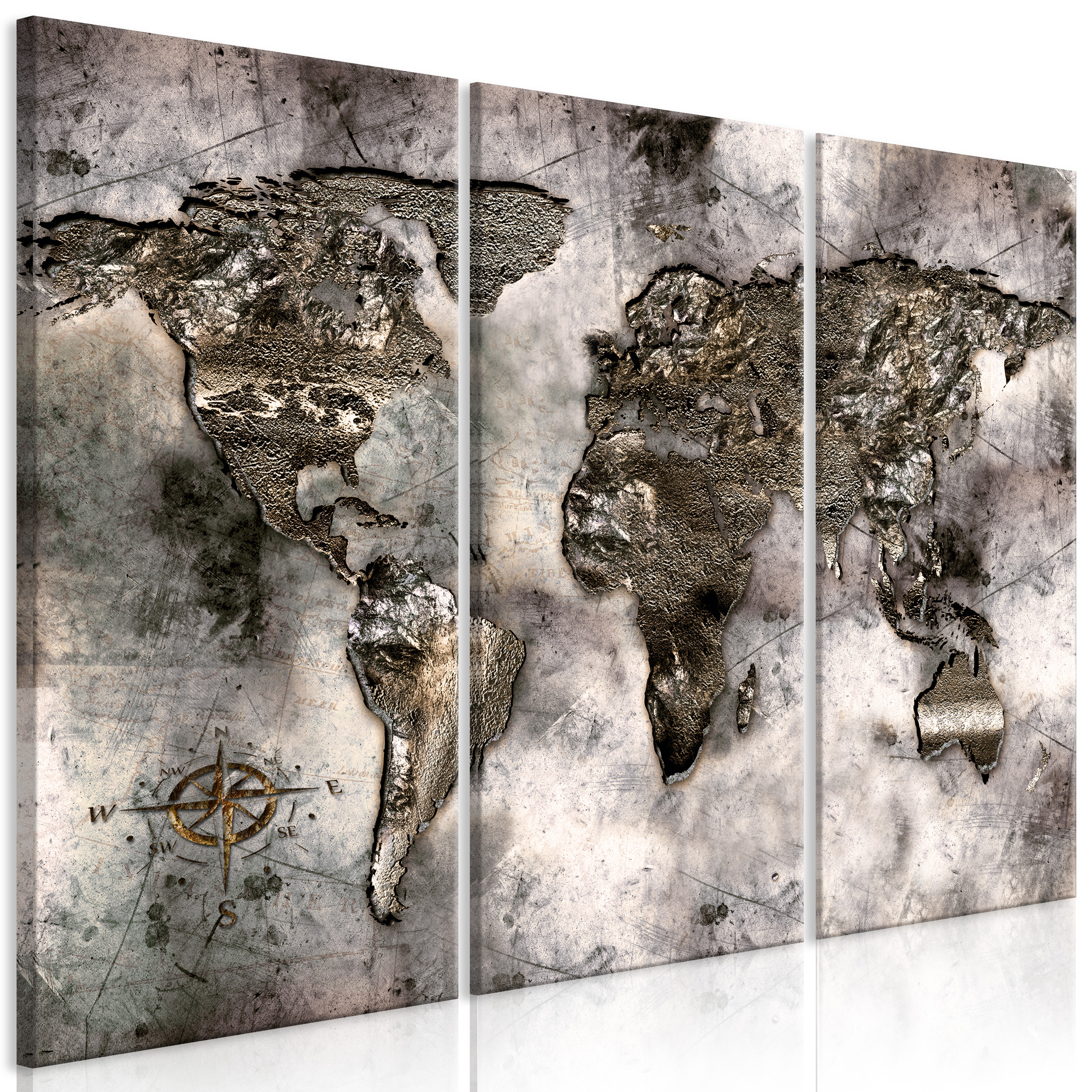 Details zu Weltkarte PINNWAND Kork LEINWANDBILDER Bilder Wandbilder XXL  Wohnzimmer Groß 3tl