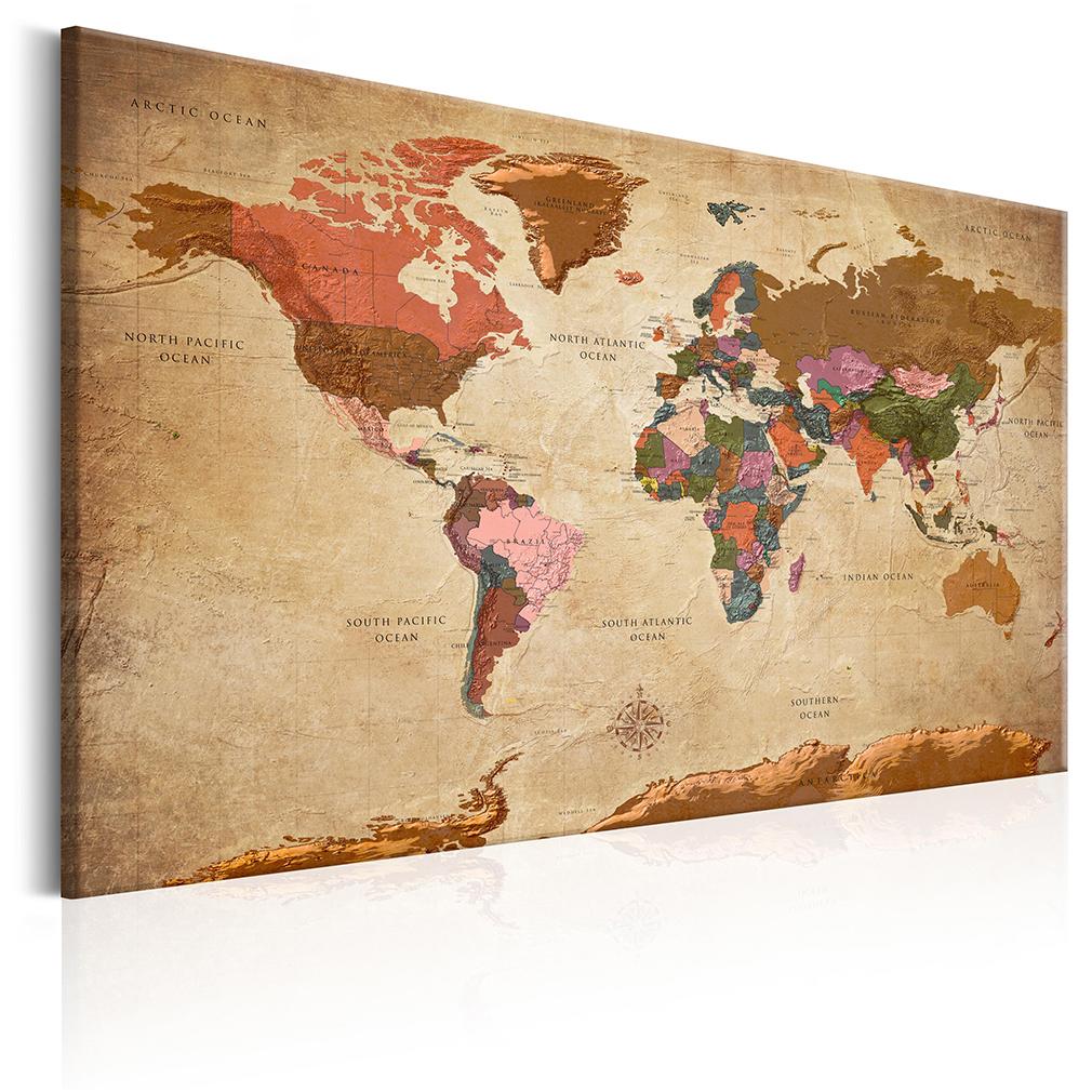 leinwand bilder weltkarte vintage braun beige alt map wandbilder xxl 12 farbe ebay. Black Bedroom Furniture Sets. Home Design Ideas