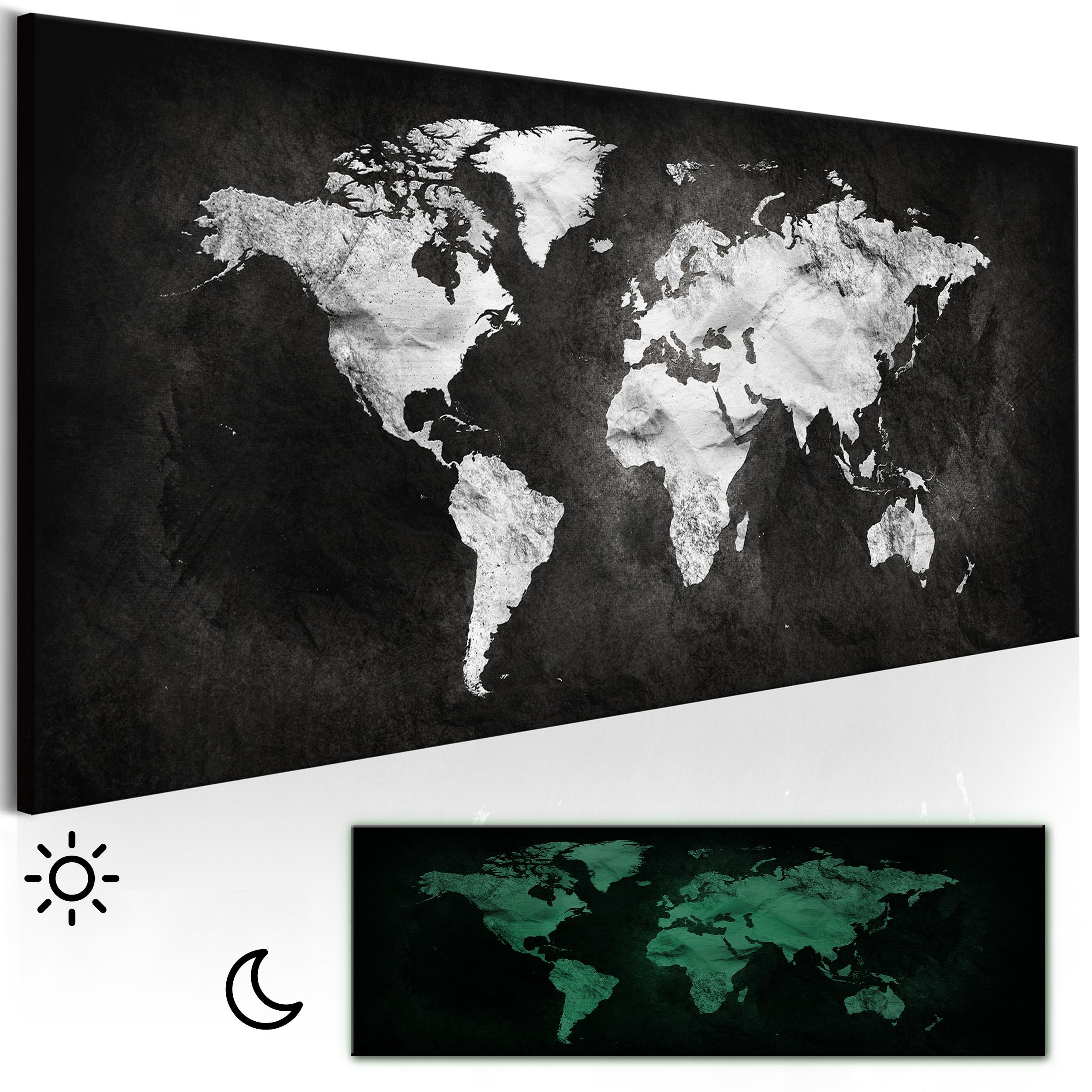 leinwand bilder weltkarte schwarz wei wandbilder xxl. Black Bedroom Furniture Sets. Home Design Ideas