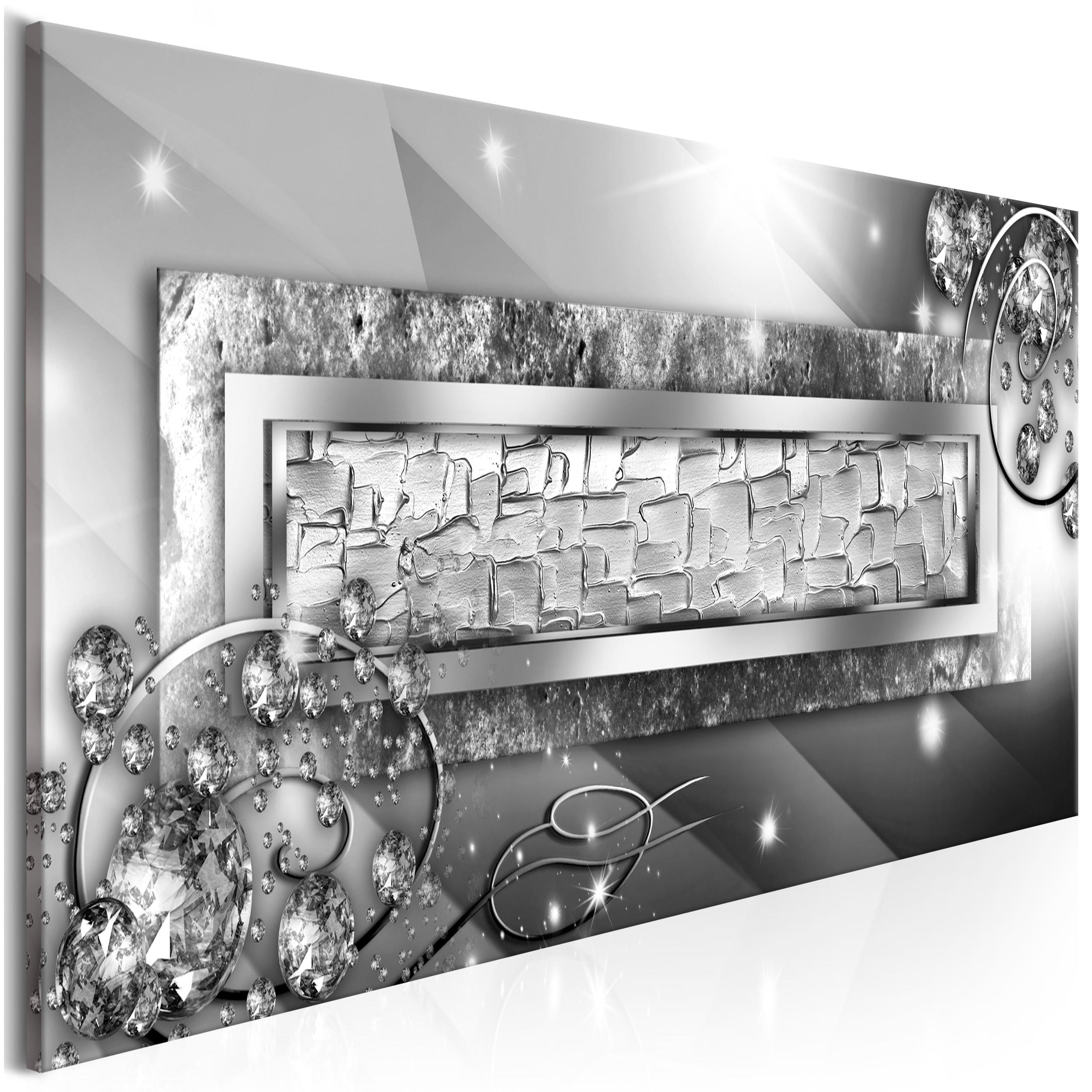 Leinwand bilder abstrakt 100x40 diamente modern silber for Wandbilder wohnzimmer abstrakt
