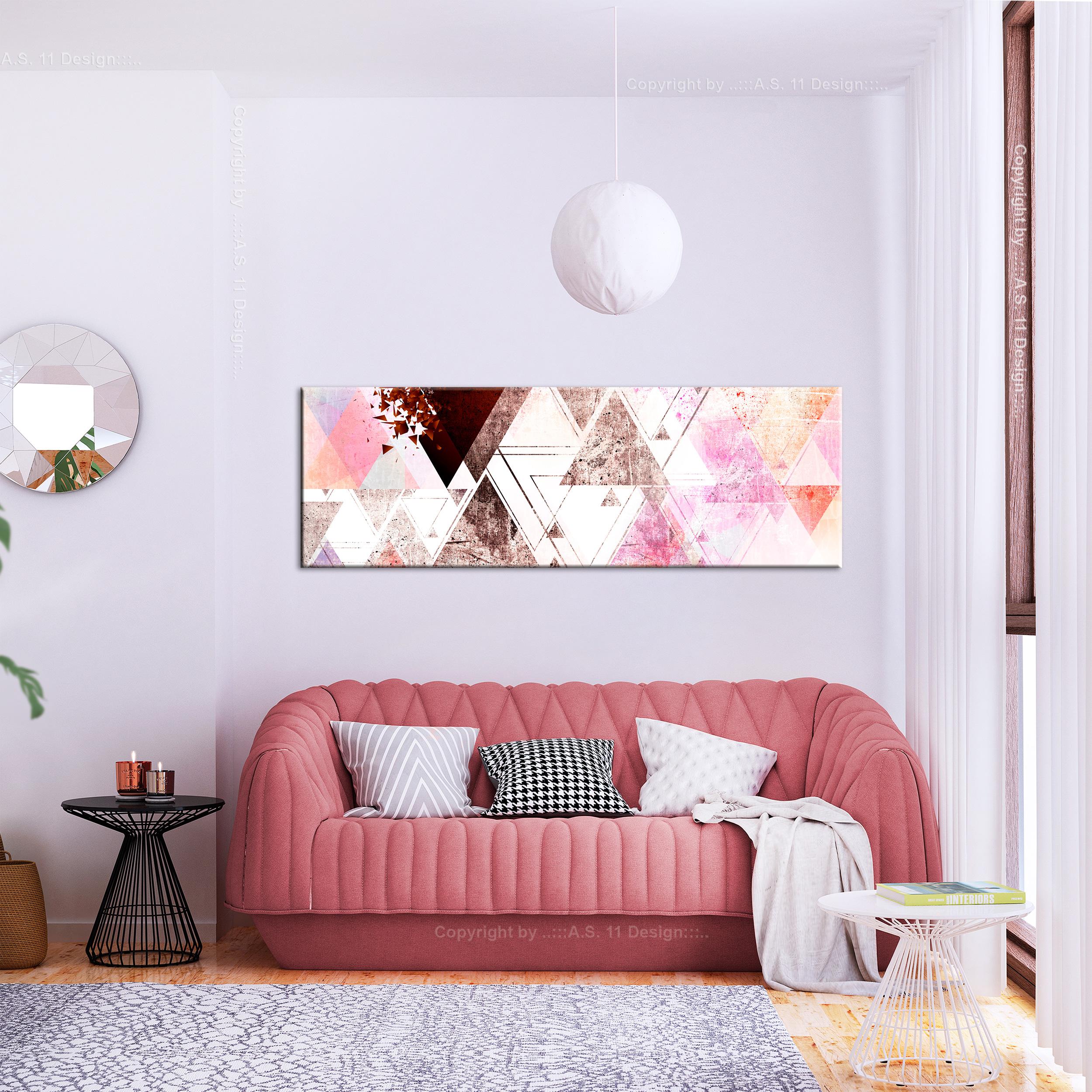 LEINWAND BILDER Geometrisch Textur weiß Rosa moderne WANDBILDER XXL Wohnzimmer
