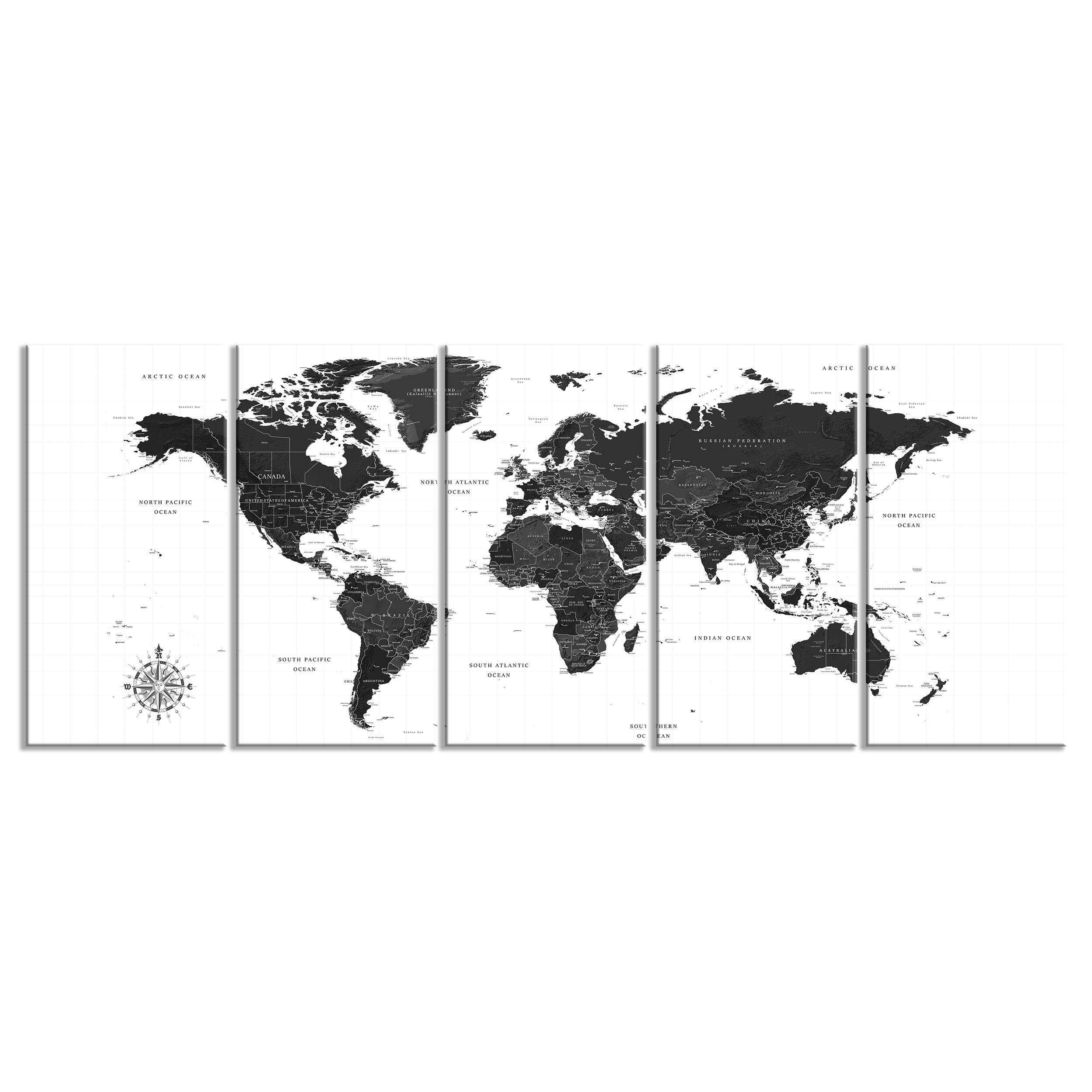 Weltkarte Markierungen y00028 Impresión Wand Deko Leinwand Bilder