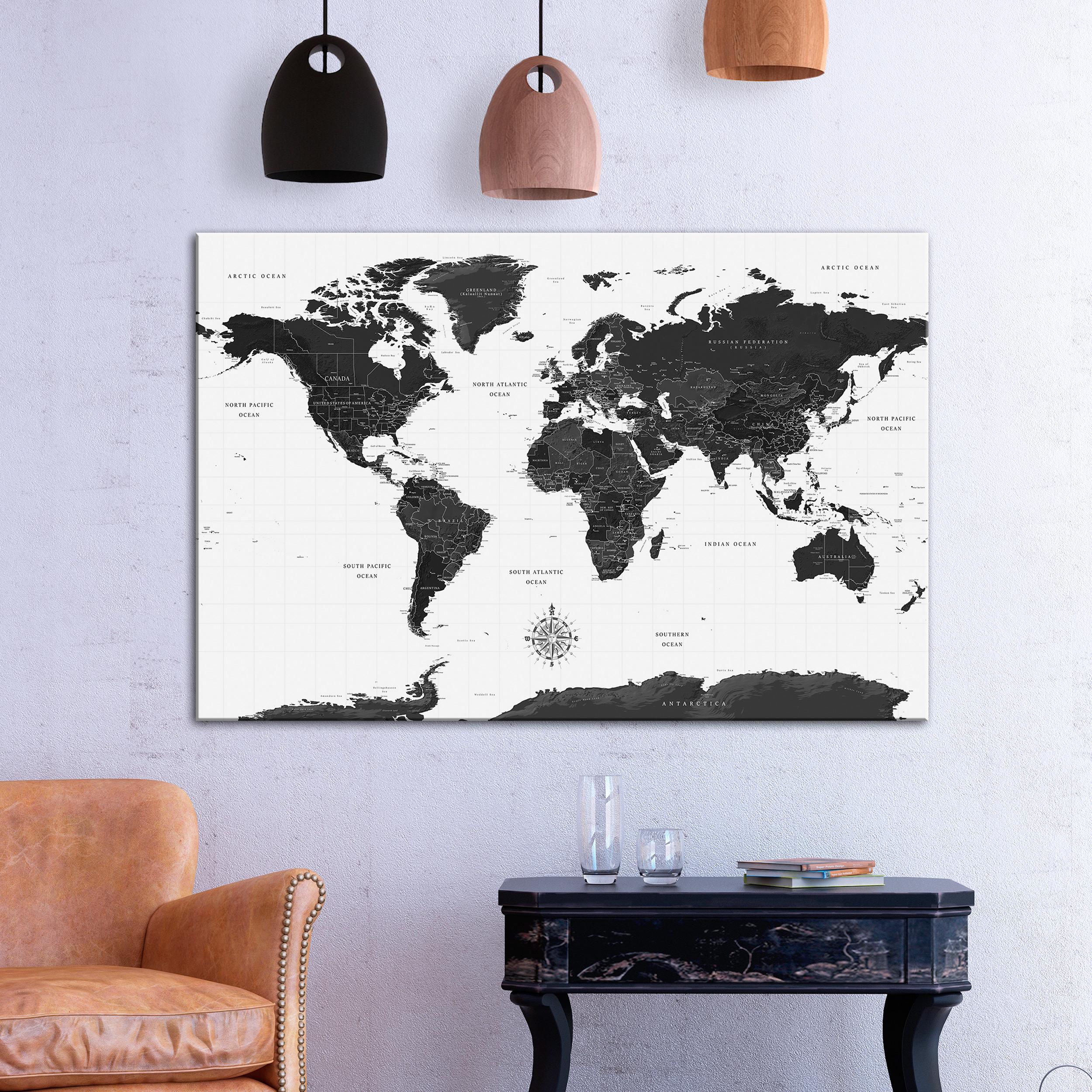 leinwand bilder weltkarte kontinente map kunstdruck wandbilder xxl wohnzimmer ebay. Black Bedroom Furniture Sets. Home Design Ideas