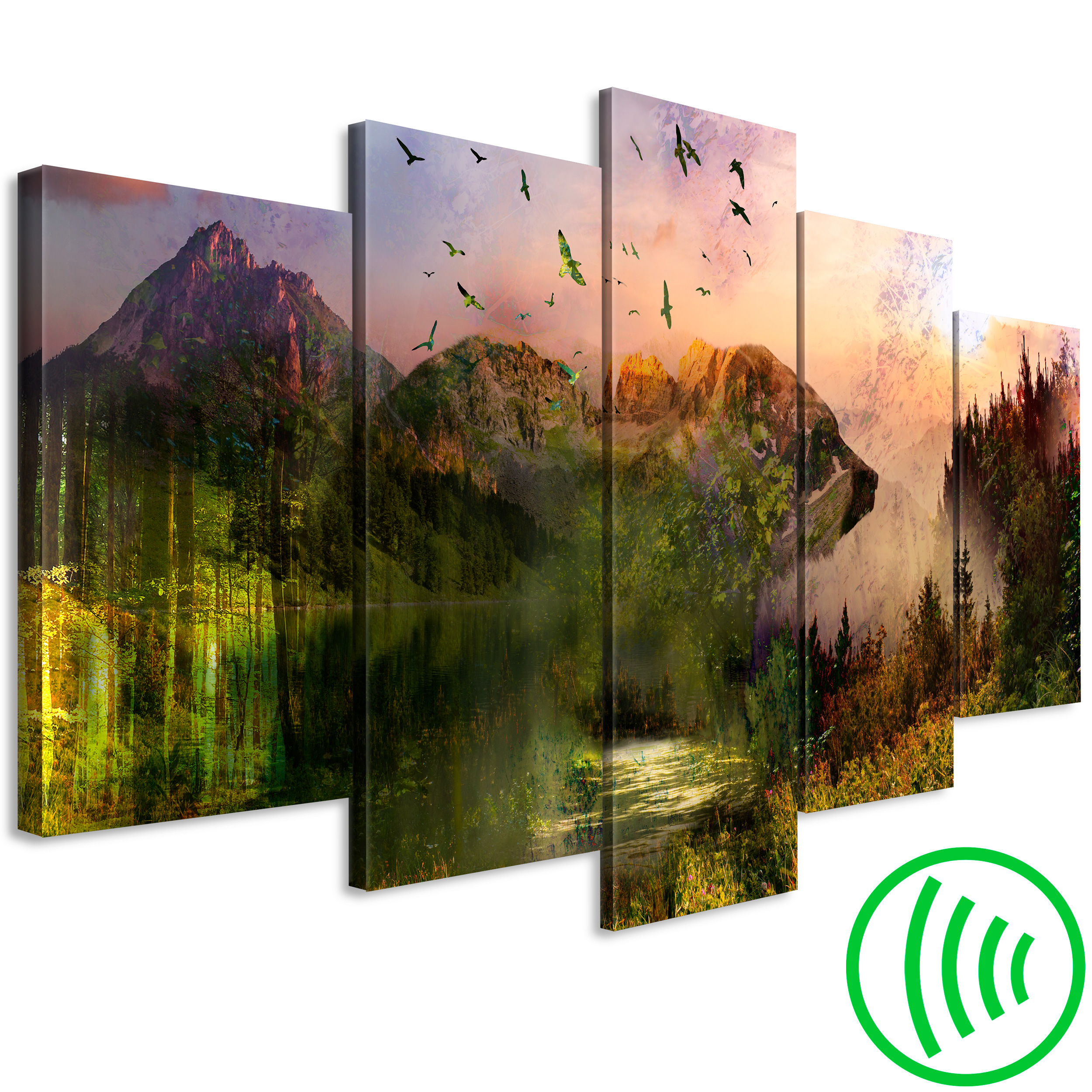 LEINWAND BILDER Landschaft Berge Wald grün WANDBILDER Wohnzimmer xxl ...