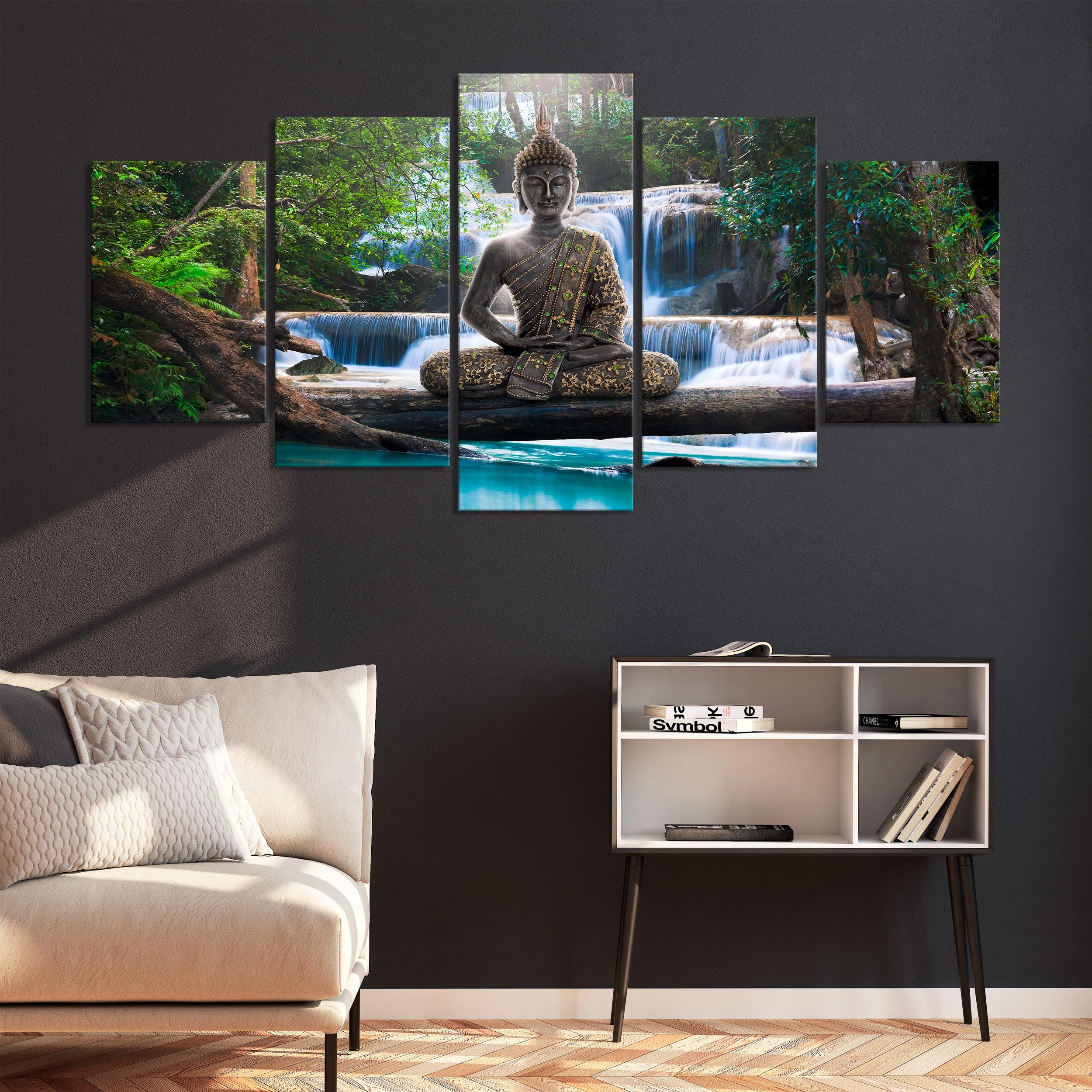 Details zu LEINWAND DEKO BILDER Buddha Asia Orient WANDBILD XXL Wohnzimmer  Natur KUNSTDRUCK