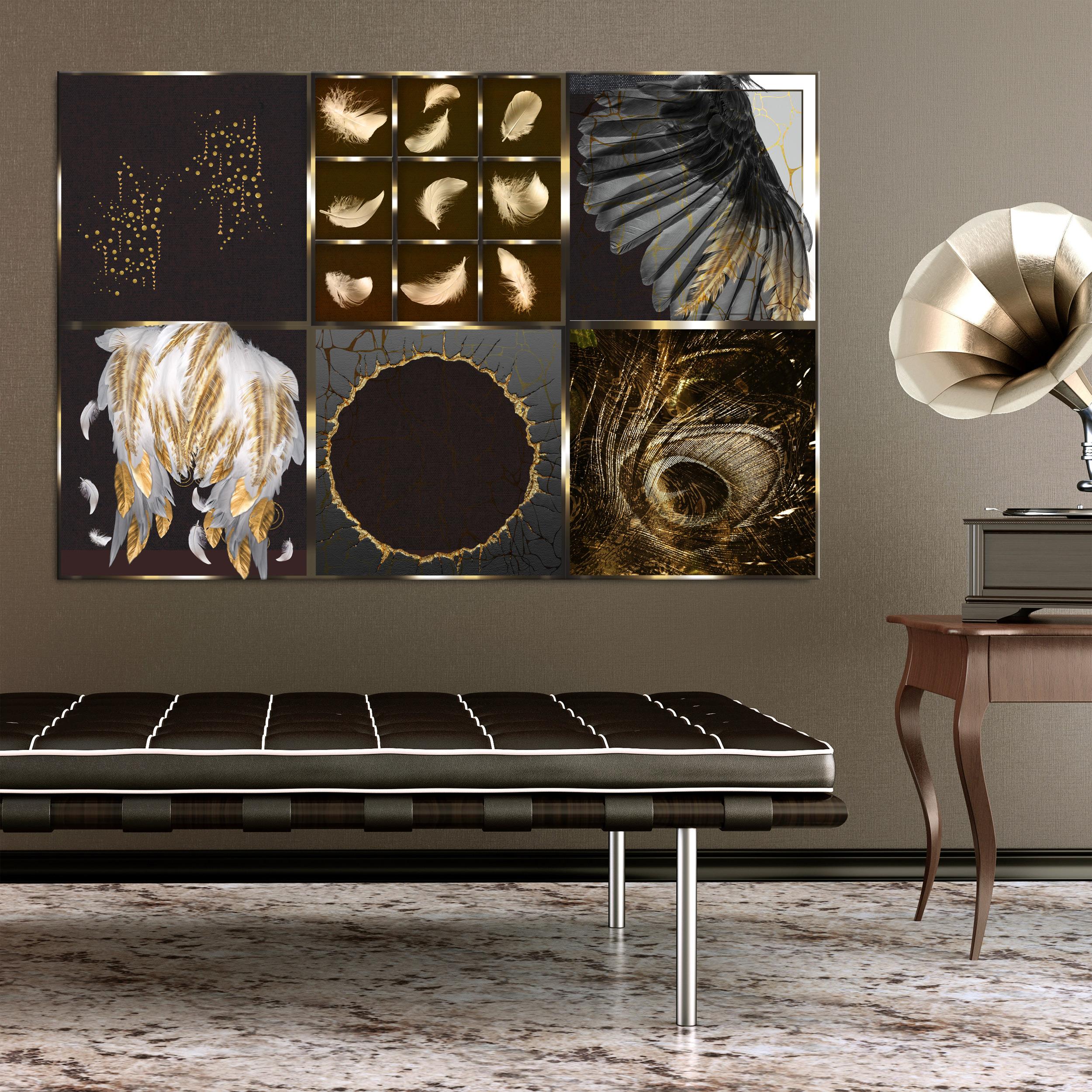 Gold Leinwand Bild Abstrakt Wand Bilder Xxl Deko Kunstdruck Wohnzimmer Schwarz Ebay