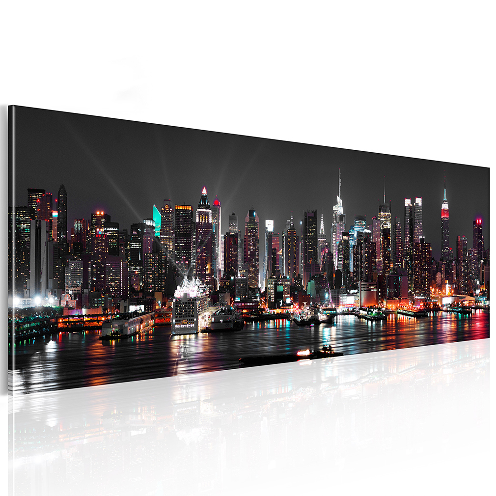 leinwand bild new york skyliner stadt wandbilder bilder panorama gro e auswahl ebay. Black Bedroom Furniture Sets. Home Design Ideas
