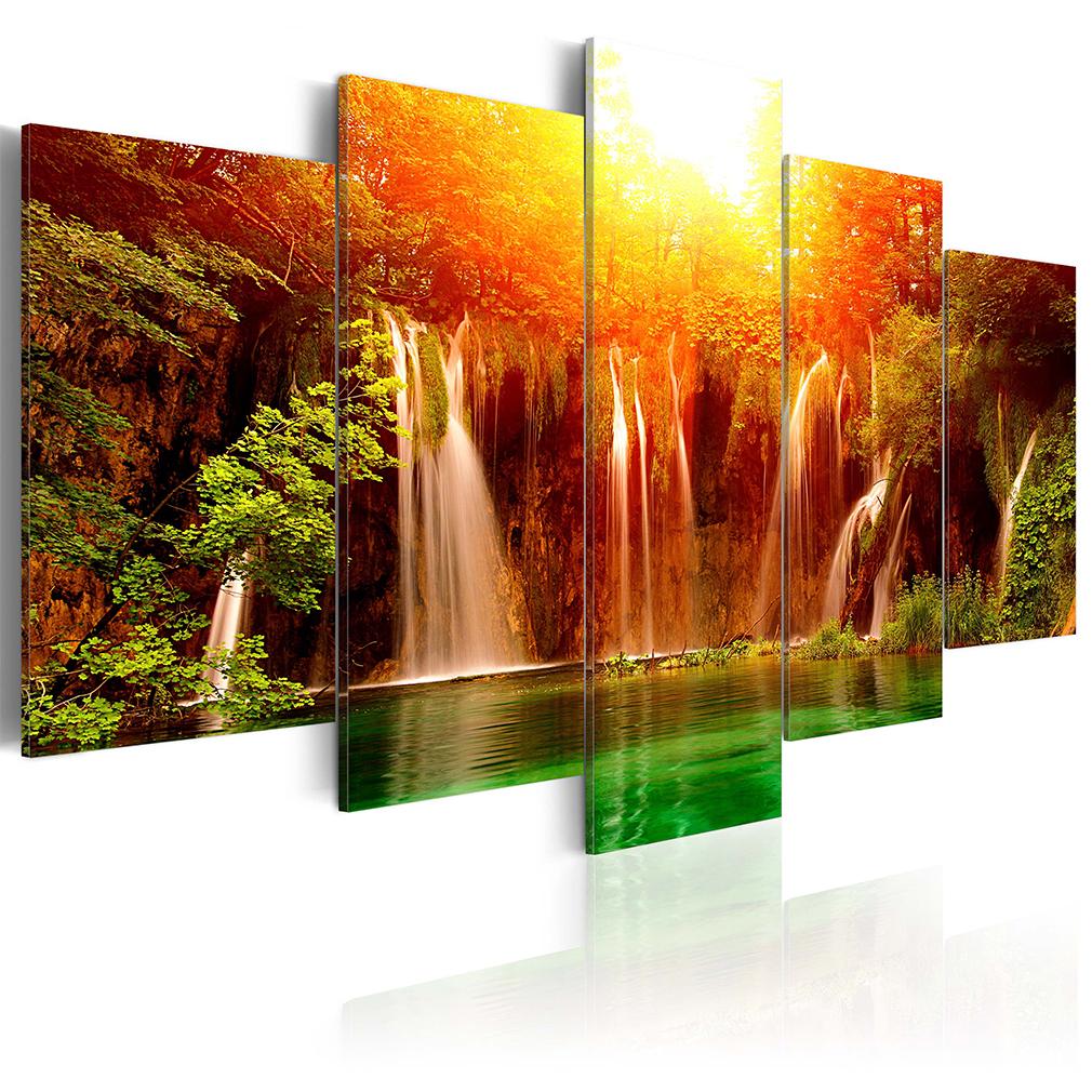 Leinwand bilder wald wasserfall 100x50 sonne landschaft for Wohnzimmer bilder leinwand