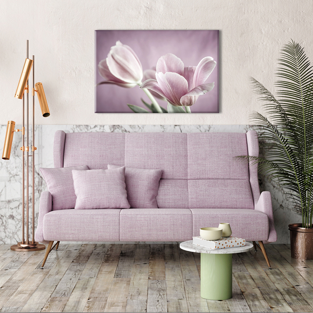 leinwand bilder blumen tulpen rosa 90x60 wandbilder xxl wohnzimmer kunstdruck ebay. Black Bedroom Furniture Sets. Home Design Ideas