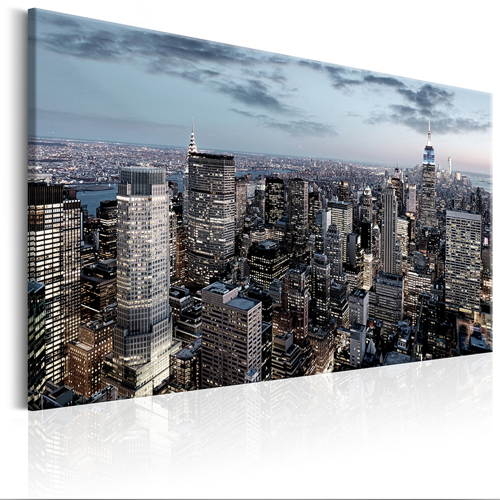 bilder leinwand bild new york skyline panorama 120x80 stadt wandbilder 3 farben ebay. Black Bedroom Furniture Sets. Home Design Ideas