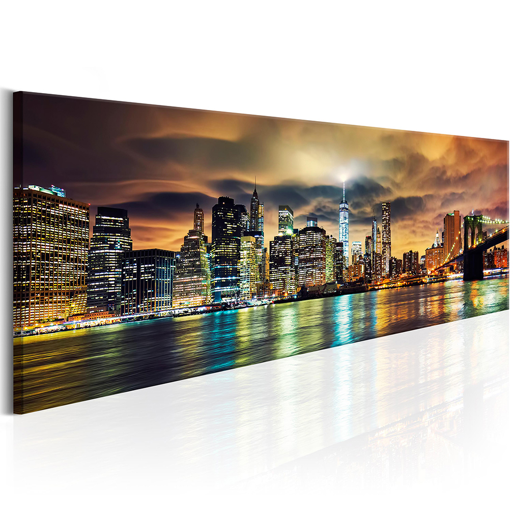 leinwand bilder new york skyline stadt wandbilder xxl wohnzimmer gro auswahl ebay. Black Bedroom Furniture Sets. Home Design Ideas