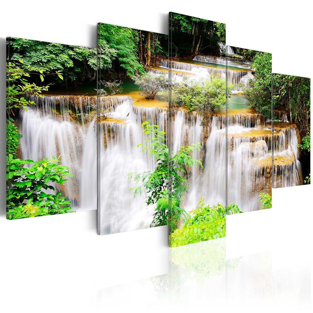 leinwand bilder wasserfall wald natur ausblick gro wandbilder wohnzimmer 6 farb ebay. Black Bedroom Furniture Sets. Home Design Ideas