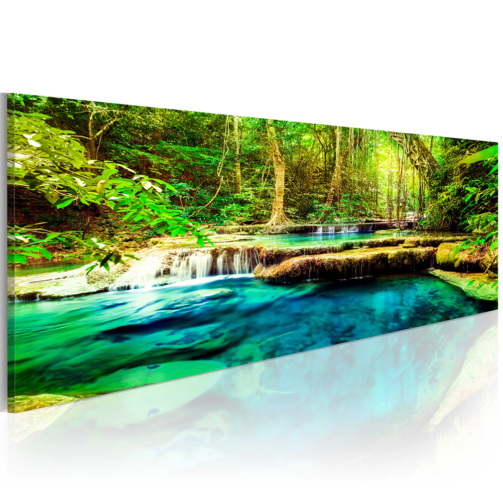 leinwand bild wald wasserfall natur baum landschaft wandbilder xxl gro e auswahl ebay. Black Bedroom Furniture Sets. Home Design Ideas