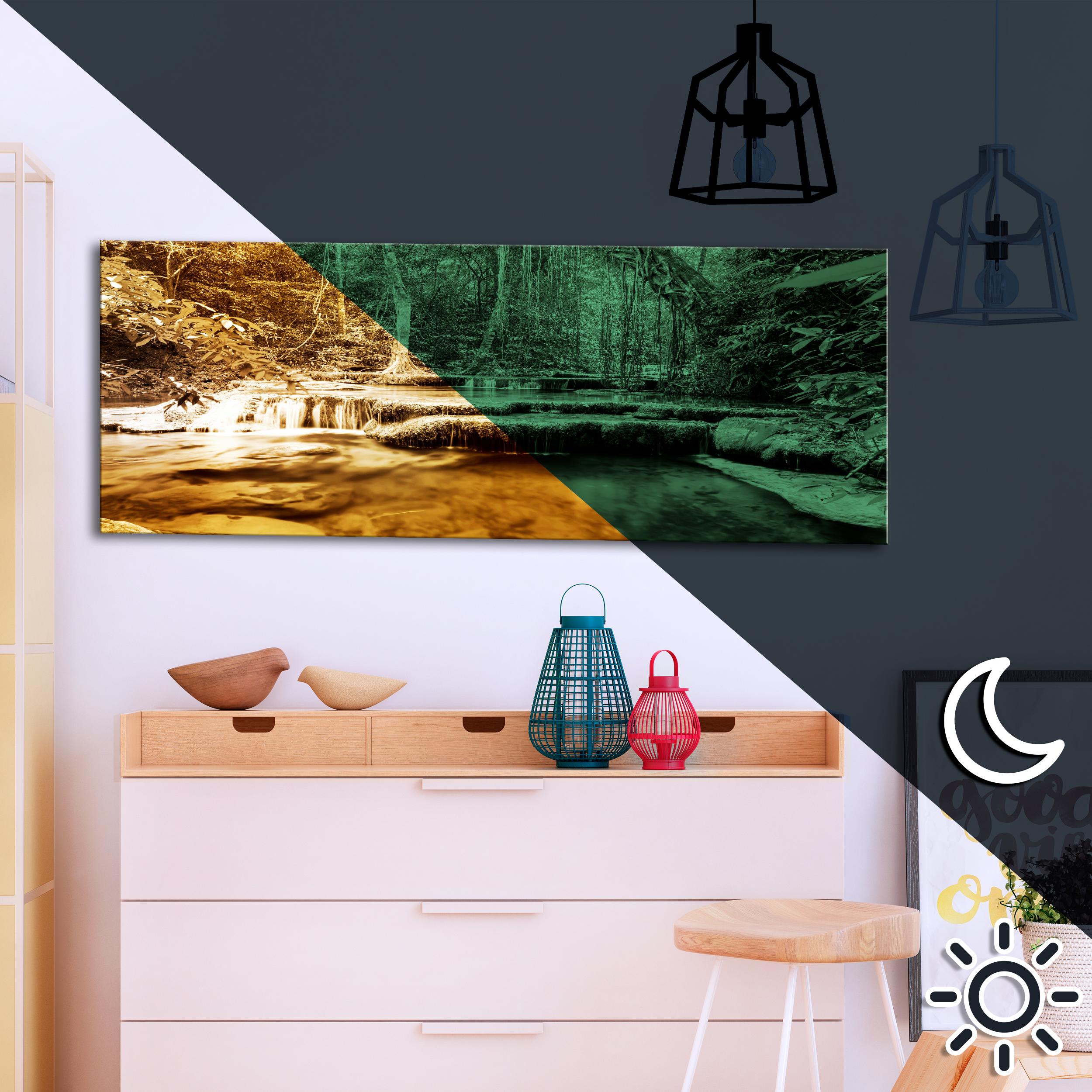 bilder leinwand bild wald natur landschaft wandbilder nachleuchtend ebay. Black Bedroom Furniture Sets. Home Design Ideas