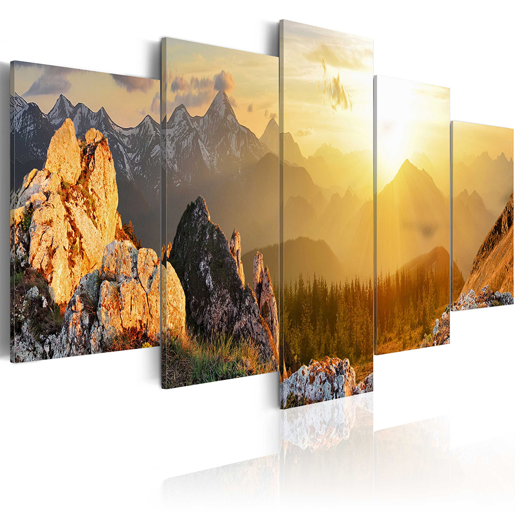 bilder leinwand bild berge wald natur herz landschaft wandbilder kunstdruck xxl ebay. Black Bedroom Furniture Sets. Home Design Ideas