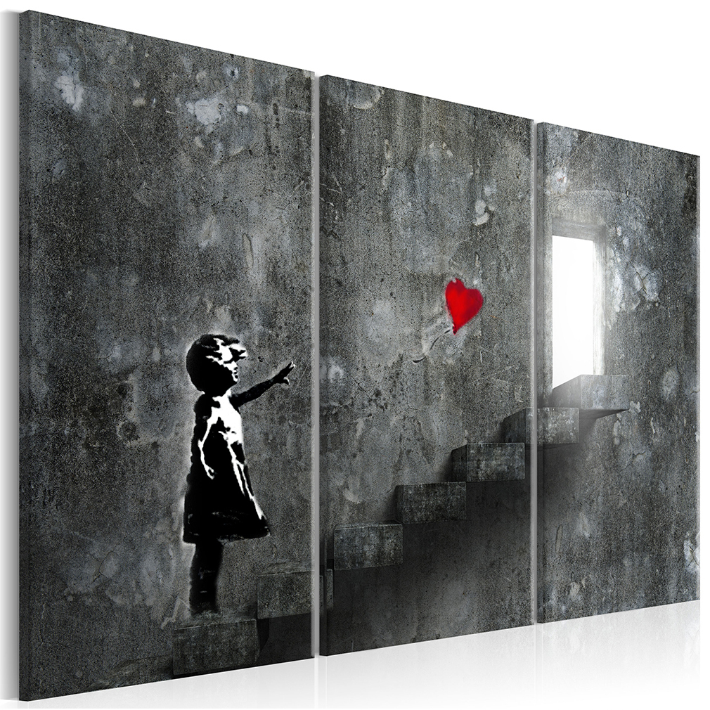 bilder leinwand banksy abstrakt wandbilder bild kunstdruck streetart graffiti ebay. Black Bedroom Furniture Sets. Home Design Ideas