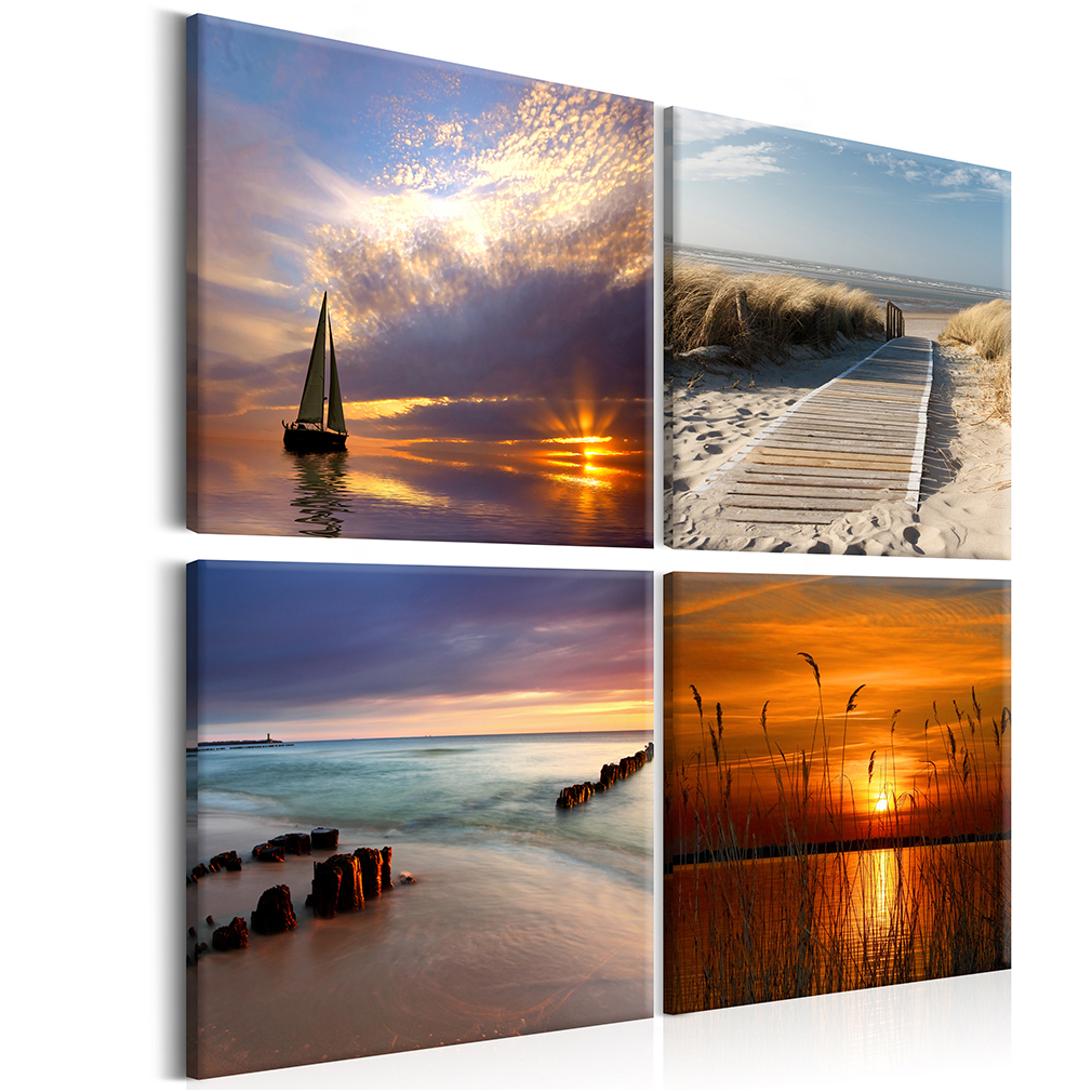bilder leinwand bild meer strand natur landschaft himmel wandbilder kunstdruck ebay. Black Bedroom Furniture Sets. Home Design Ideas