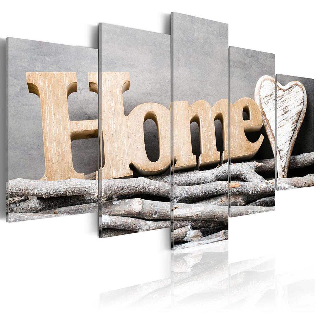 bilder leinwand bild home vintage retro rustikal holz haus. Black Bedroom Furniture Sets. Home Design Ideas