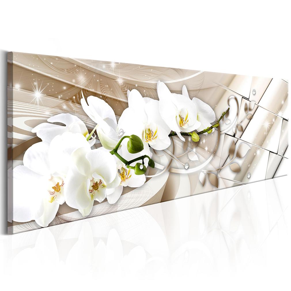 bilder leinwand bild blumen wei gold orchidee rosa. Black Bedroom Furniture Sets. Home Design Ideas