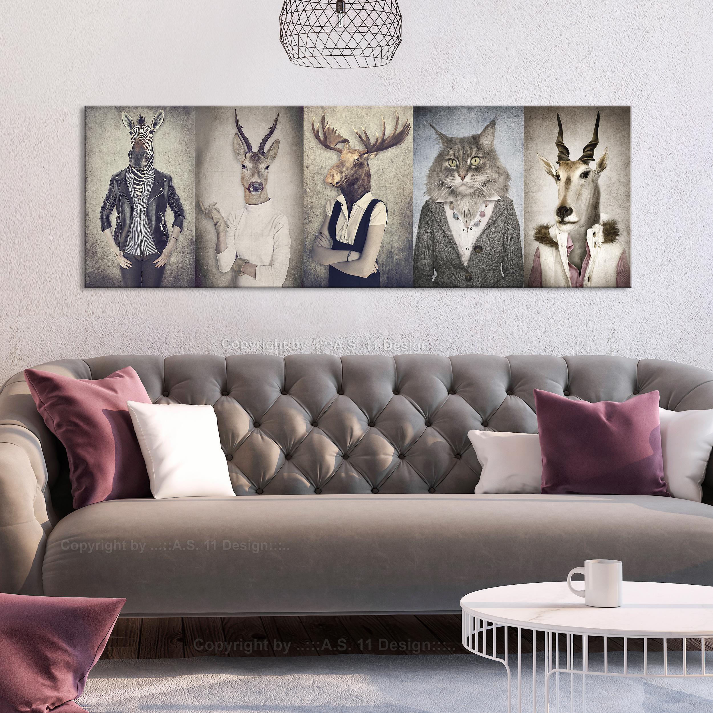 bilder leinwand bild tiere katze retro vintage menschen. Black Bedroom Furniture Sets. Home Design Ideas