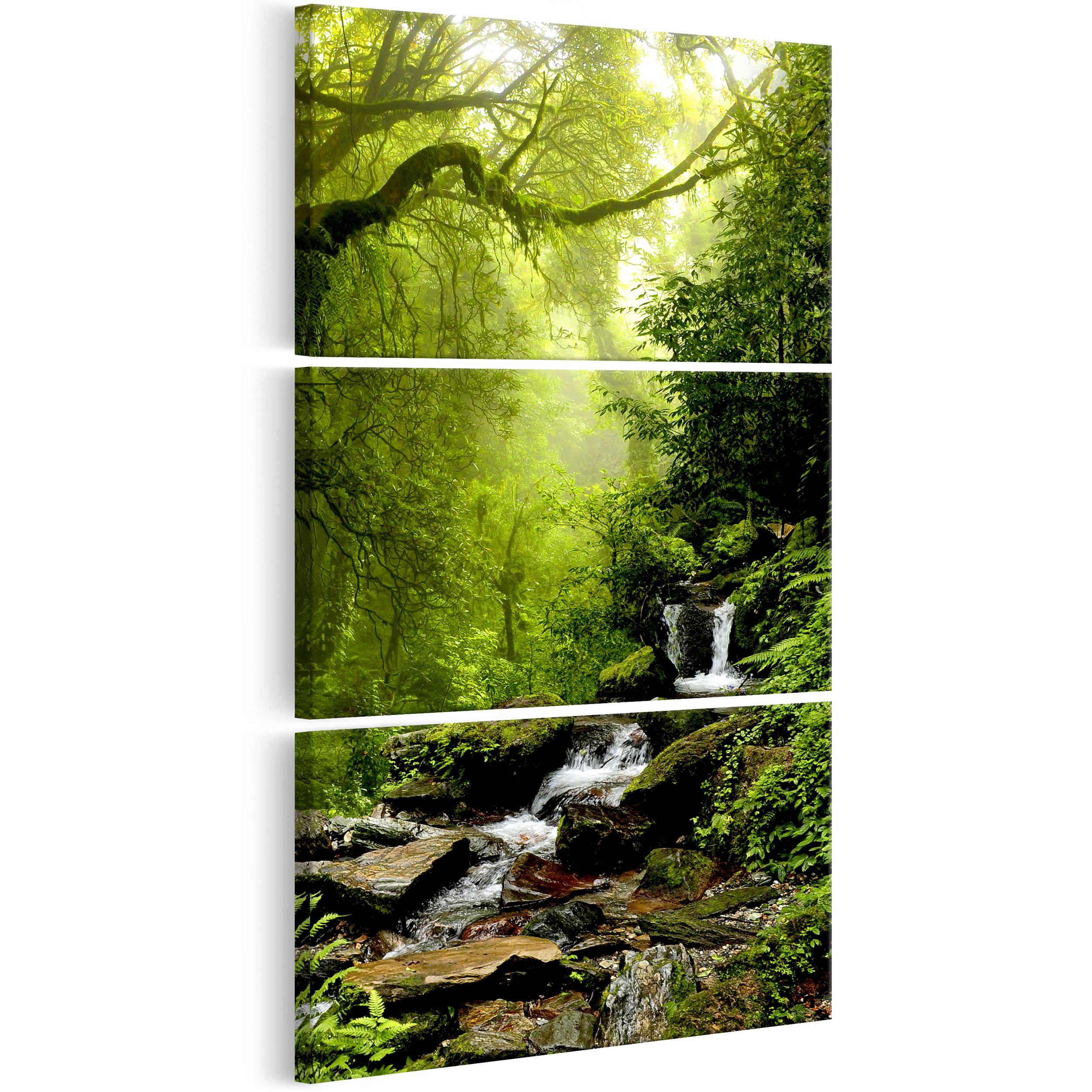 Leinwand bilder wald wasserfall kunstdruck natur for Wohnzimmer bilder leinwand