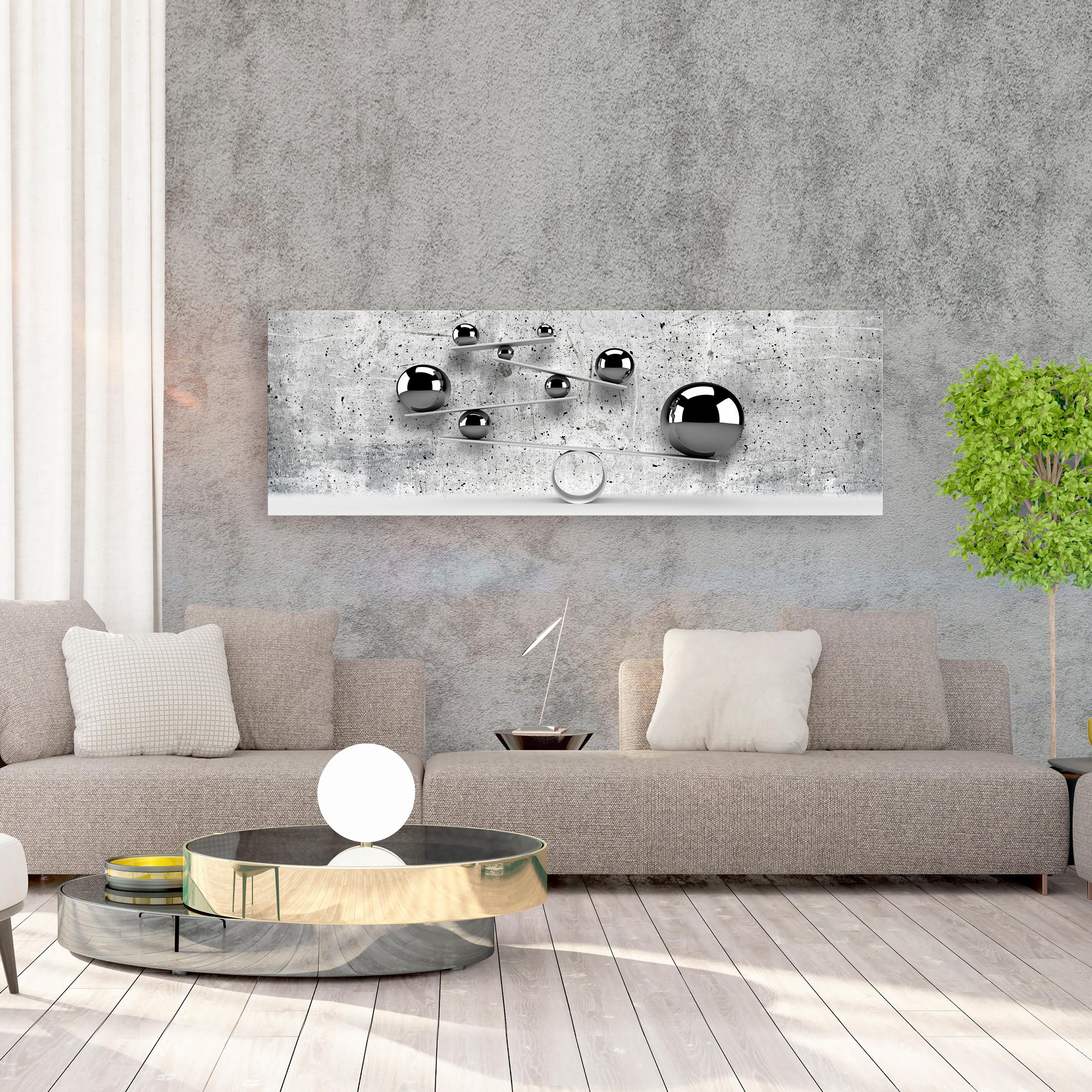 Vlies Leinwand Bilder 3d Abstrakt Kugeln Grau Silber Beton Wandbilder Wohnzimmer Ebay
