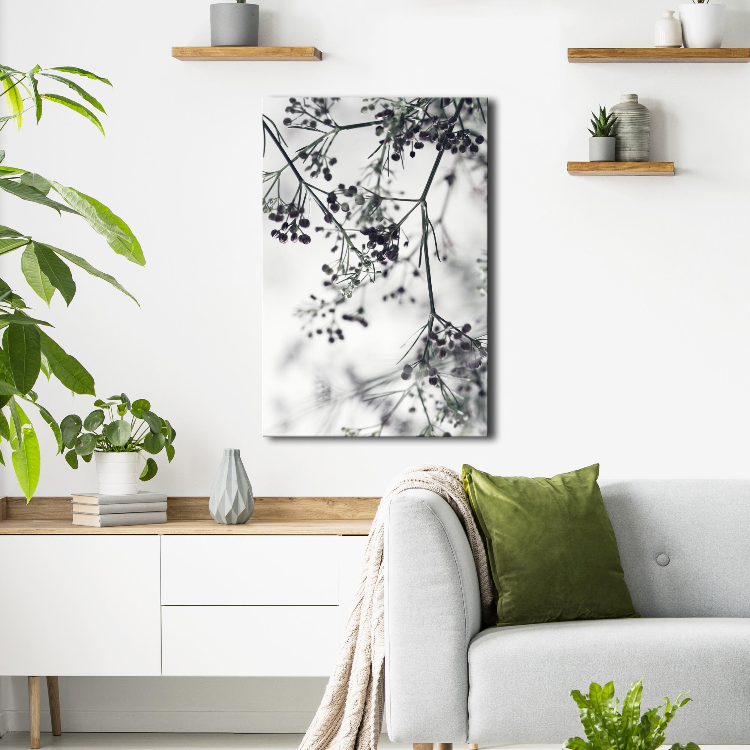 LEINWAND BILDER Natur Pflanzen Ornament Nordische schwarz weiß WANDBILDER XXL