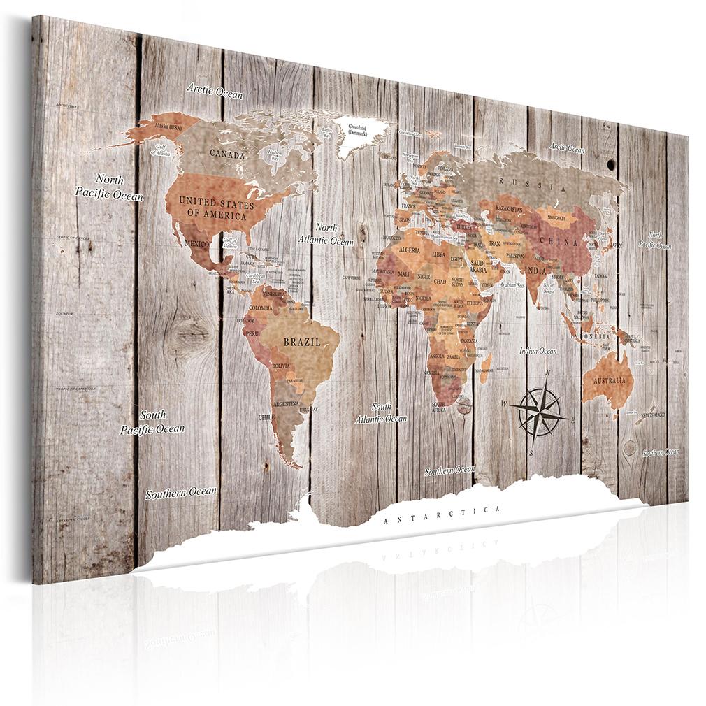 bilder leinwand bild weltkarte world map holz kontinente. Black Bedroom Furniture Sets. Home Design Ideas