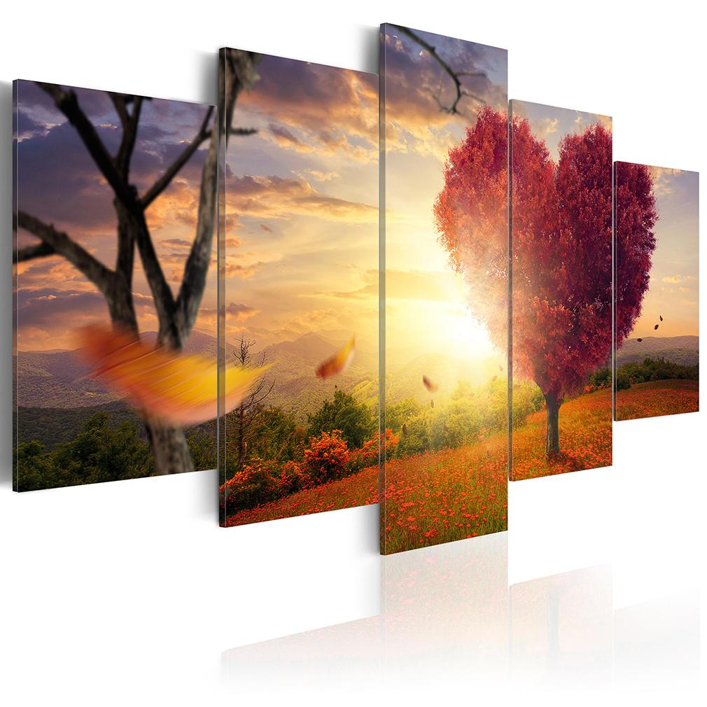 bilder leinwand bild berge wald natur herz landschaft wandbilder kunstdruck xxl ebay. Black Bedroom Furniture Sets. Home Design Ideas