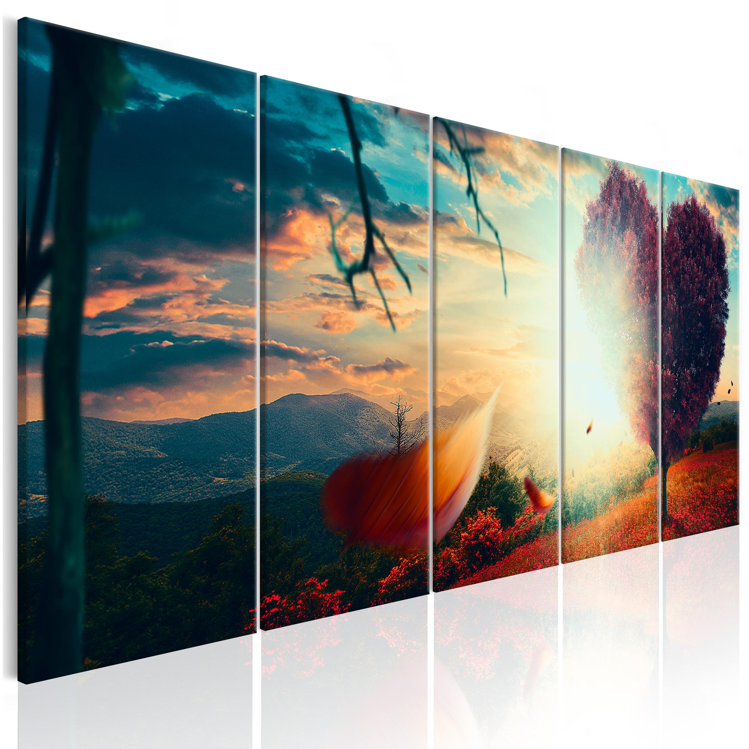 leinwand bilder wald baum sonne herz liebe wandbilder xxl wohnzimmer kunstdruck ebay. Black Bedroom Furniture Sets. Home Design Ideas